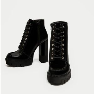 NWT Zara lace up ankle boots with track sole